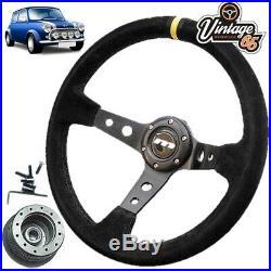 Classic Mini 340mm Deep Dish Rally Alcantara Steering Wheel & Boss Fitting Kit