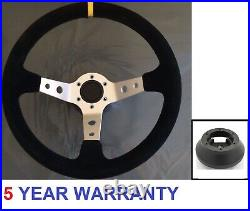 Deep Dish Suede Silver Sport Racing Steering Wheel And Boss Kit Hub Fits Most Vw