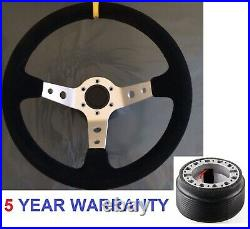 Dished Suede Steering Wheel And Boss Kit Hub Fit Vw T4 Transporter 96-03