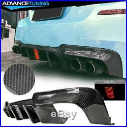 Fits 11-16 BMW F10 M5 V Style Rear Bumper Diffuser with LED Light Carbon Fiber