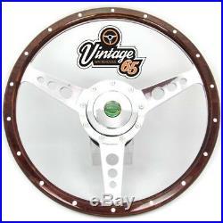 Land Rover Defender 14 Wood Rim Steering Wheel & Fitting Boss Badged Horn Kit