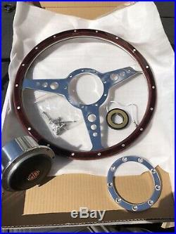 MGB Classic 14 In Wood Rim Steering Wheel & Boss Kit Centre Horn Push 72-82