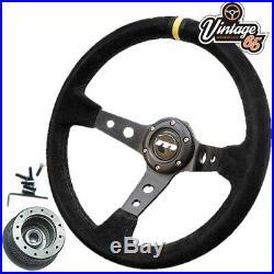 Morris Minor 340mm Deep Dish Rally Alcantara Steering Wheel & Boss Fitting Kit