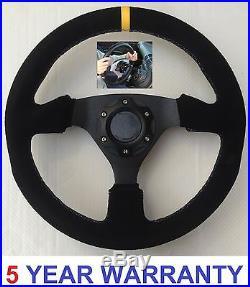 Suede Steering Wheel & Snap Off Boss Kit Hub Fit 36 Spline Land Rover Defender