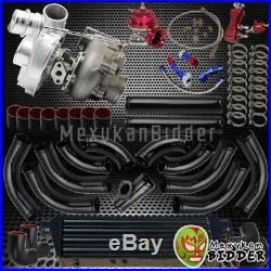 Univerial T3/T4 Turbo Kit V-Band TurboCharger + Blow Off Valve + Couplers Black
