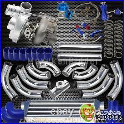 Universal T3/T4 12PC Chrome Piping Blue Coupler 400+HP V-Band Turbo Upgrade Kit