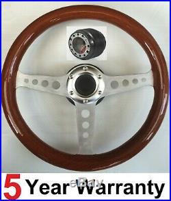 Wooden Wood Steering Wheel And Boss Kit Hub Fit Land Rover Defender 48 Spline